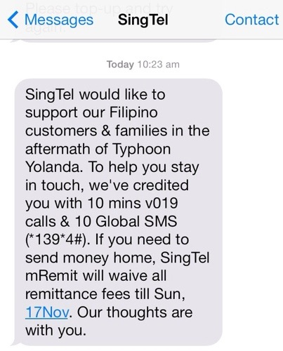 Singtel on Typhoon Yolanda